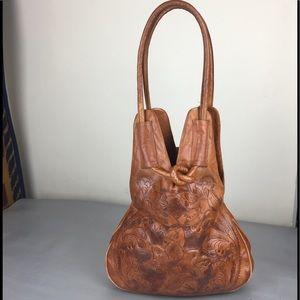 Handbags - Mexican tooled faux leather unique shoulder bag